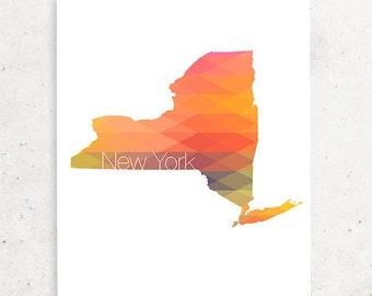Printable Geometric New York Art, New York Print, State Art, Digital New York Print, Instant Download, Wall Art