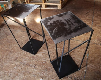pair of artistic, reclaimed steel side tables