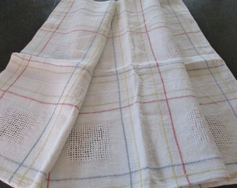 French Farmhouse Tablecloth Heavy Hemp Drawnwork and Hand Stitching Red Yellow Blue