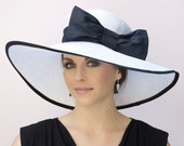 Wedding Hat, Black and White Hat, Wide Brim Hat, Ascot Hat, Formal Church Hat, Black & White Derby Race Hat, Elegant Hat, sophisticated hat