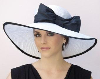 Wedding Hat, Black and White Hat, Wide Brim Hat, Derby Hat, Ascot Hat, Formal Church Hat, Race Hat, Elegant Hat, sophisticated hat, Big hat