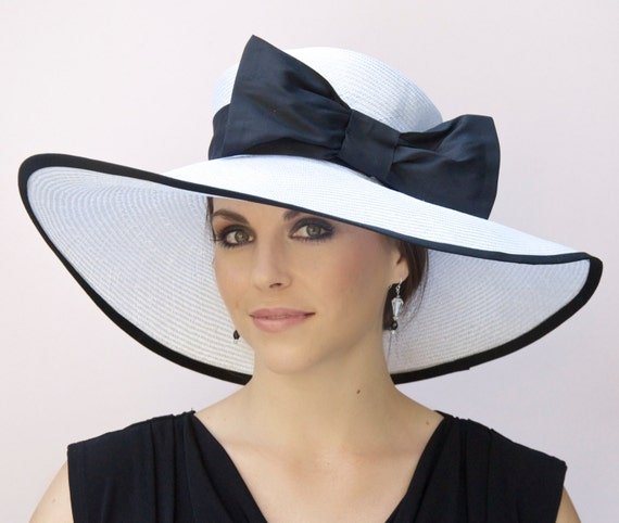 Kentucky Derby Hat, Wedding Hat Black and White Hat, Wide Brim Hat, Derby Hat, Ascot Hat, Formal Hat, Church Hat, Large Hat, Big hat