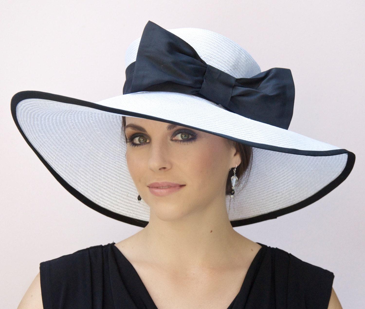 Wedding Hat Black And White Hat Wide Brim Hat Derby Hat