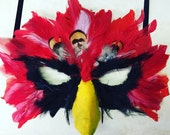 Cardinals mask, arizona cardinals mask, louisville cardinals mask, cardinal costume, bird mask, bird costume, mardi gras mask