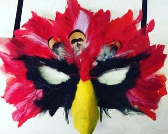 Cardinals mask, mardi gras mask, arizona cardinals mask, louisville cardinals mask, cardinal costume, bird mask, bird costume