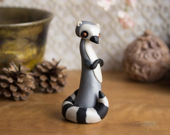 Lemur Figurine - Ring-tailed Lemur Sculpture by Bonjour Poupette
