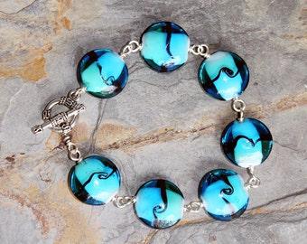 Blue Bracelet, Glass Bracelet, Turquoise Bracelet, Green Bracelet, Bangle Bracelet, Handmade Bracelet, Spring Bracelet, Summer Bracelet