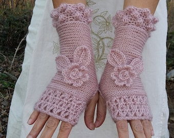 FLOWERS Crochet Gloves Long Arm Warmers Pink Knitted Fingerless Mittens Elegant Bridal Winter Gloves Hand Knit Wrist Warmers Womens Gift Her