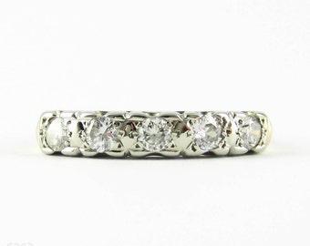 Vintage Five Stone Diamond Wedding Ring. 0.35 ctw Round Brilliant Half Hoop Diamond Ring in White & Yellow Gold, Circa 1940s.