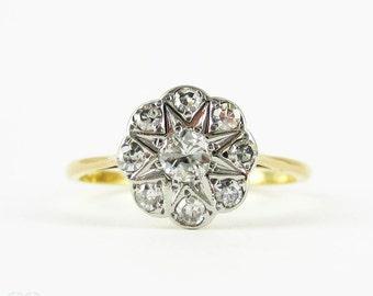 Vintage Diamond Flower Engagement Ring, Daisy Shape Diamond Cluster Ring, 0.33 ctw. Circa 1940s, 18 Carat Gold.