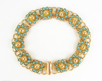 Victorian Turquoise Panel Bracelet, Antique 15 Carat Yellow Gold Link Bracelet with Floral Style Turquoise Inset Design, Circa 1890s.