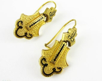 Victorian Memorial Earrings, Antique 18 Carat Gold Filled Earrings with Black Enamel. Textured Detail Dangle Earrings, Circa 1870s.