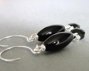 Black Onyx Earrings / Dangle Earrings / Drop Gemstone Earrings / Accessories / Gift for Her / Sterling Silver Hoops / Earrings