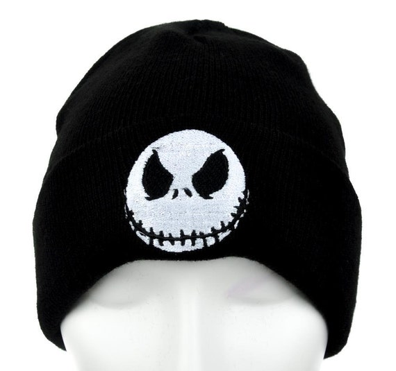 Jack Skellington Evil Grin Cuff Knit Embroidery Beanie