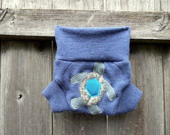 Upcycled Merino Wool Soaker Cover Diaper Cover With Added Doubler Blue With Turtle Applique NEWBORN 0-3M Kidsgogreen