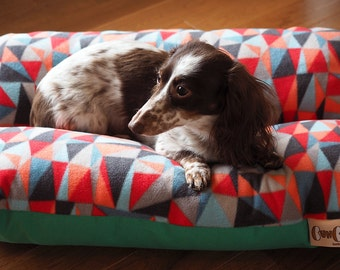 Geometric Pattern on Fleece, Blues, Reds, Emerald, Bunbed Dachshund Dog Bed, Small Breed Dog Bed - Triangles Hot Dog Bed