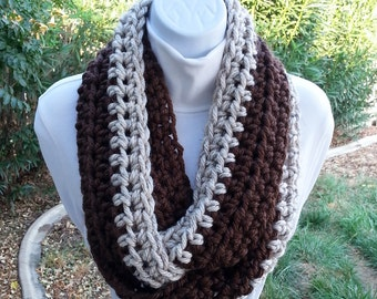 Dark Brown & Off White Wheat Infinity Scarf Loop Cowl, Skinny Two-Toned Striped Soft Thick Narrow Chunky Crochet Knit Winter, Ready to Ship