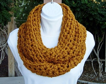 INFINITY LOOP SCARF Cowl Butterscotch Solid Dark Yellow Orange Gold, Soft Wool Crochet Winter Circle, Neck Warmer..Ready to Ship in 2 Days