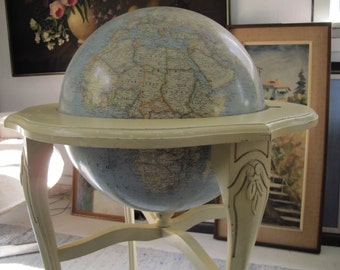 Vintage World Globe on Stand Large Globe on French Base Tall Wooden Stand Floor Globe