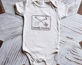 Organic Baby One Piece - Screen Printed Baby Clothes - Locally Grown - American Apparel Bodysuit - Infant One Piece - Organic Baby Clothes