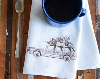 Cloth Napkins - Eco Friendly Dinner Napkins - Screen Printed Napkins - Cloth Napkin Set - Holiday Napkins - Cocktail Napkins - Station Wagon