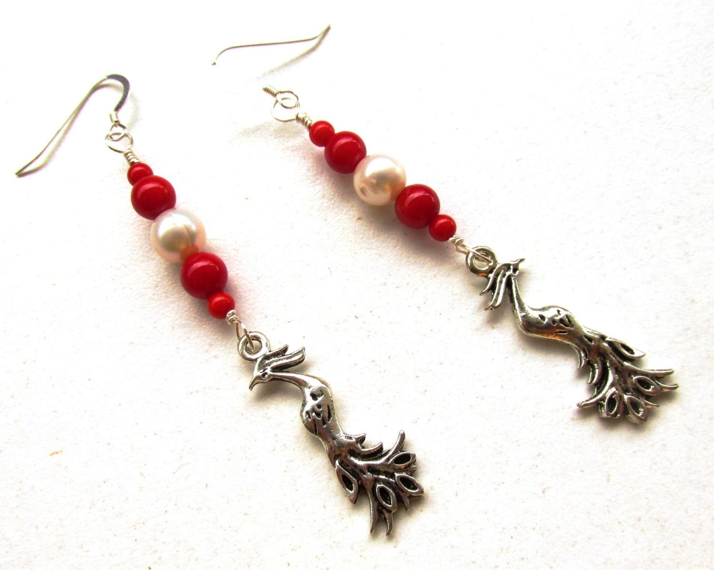 coral earrings pearl earrings sterling silver by