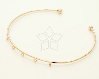 BR-029-RG / 1 Pcs - Five Loops 1.1mm Bangle for Tiny Charms, Blank Bracelet, B-Type, Rose Gold Plated Wire Bangle / Adjustable