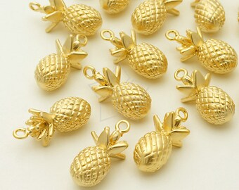 PD-1158-MG / 2 Pcs - Pineapple Charm Pendant, Matte Gold Plated over Brass / 8mm x 16.6mm