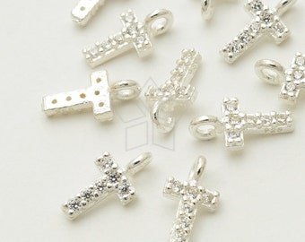 IN-417-SS / 1 Pcs - New CZ Initial Pendant, Letter Charm, Alphabet, Upper case, T, 925 Sterling Silver / 5mm x 5.5mm