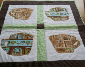 Quilt, centerpiece, Coffee cup quilt, hand quilted, applique,  brown, teal, green