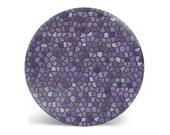 Purple decorative plate, dinner plate, melamine plate, faux mosaic plate, purple and lavender, plastic plate, dinnerware, modern decor