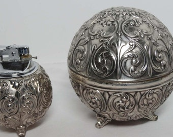 Holiday Imports Japan Silver Plated Art Deco Cigarette Holder & Lighter Home and Garden Smoking Accessories Cigarette Holders and Lighters