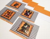 Halloween Note Cards - Set of 4 Haunted House glitter and chevron notes and envelopes