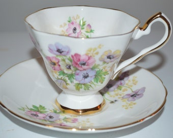 Royal Stafford Henley - cup and saucer footed base - bone china England teacup
