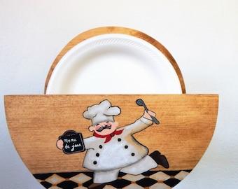 paper plate holder,wooden paper plate holder,chef kitchen decor,chef kitchen,storage for plates,plate storage,paper plates,chef decor