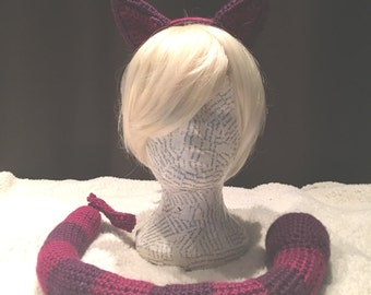 Cheshire Cat inspired Crochet Cat Set 1 -Cat Ears and Tail