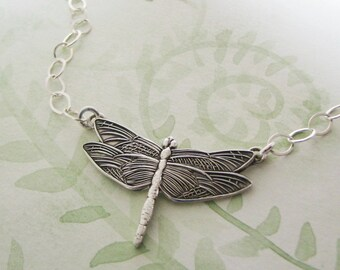 Dragonfly Necklace, Fine Silver Pendant and Sterling Necklace, by SilverWishes