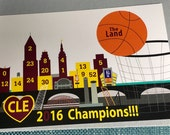 NBA 2016 Champions Cavs postcard, Basketball Cleveland Cavaliers postcard,  Allin216 Cavs 6x4 postcard, Cleveland skyline, Cavs team