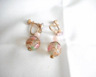 Vintage Gold Tone Clear Ball Earrings Painted Pink Green Gilded  Gold Screw Back Earrings