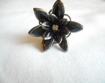 Vintage Adjustable Flower Statement Stone Finger Ring