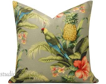 Outdoor Pillow Cover - Beach Bounty - Tropical - Parrot - Outdoor - 20X20 - ready to ship