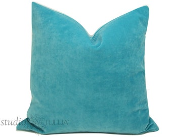 Turquoise Velvet Pillow Cover - Decorative Pillow - 20 inch - Cotton blend - aqua velvet - ready to ship