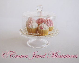 1:12 Luxury Strawberry & Cream Cupcakes On Covered Cake Stand by IGMA Artisan Robin Brady-Boxwell - Crown Jewel Miniatures
