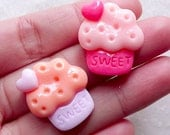 Pastel Cupcake Cabochon / Kawaii Resin Cabochon (2pcs / 21mm x 23mm / Flat Back) Fairy Kei Sweets Jewellery Making Decoden Pieces FCAB441