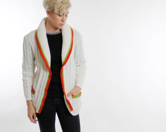 Vintage 70's acrylic cardigan sweater, cable knit, off white, green, orange, large collar, no closure, two pockets - Small