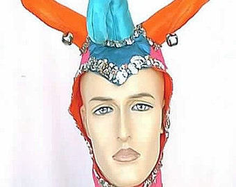 Handmade Vintage Mardi Gras Jester's Hat Orange Hot Pink and Blues Sateen Silver Sequin Braid and Bells