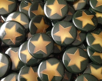 Green and Gold Star - Pinback Button, Magnet, Zipper Pull, Mirror, Bottle Opener, or Ornament