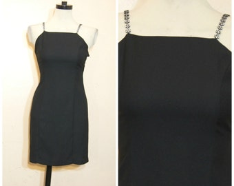 90s Little Black Dress XS Small Silver Floral Straps Rave Club Kid Grunge