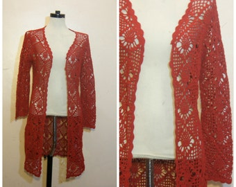 90s Red Crochet Cardigan Duster Sweater Medium Boho Festival Open Knit