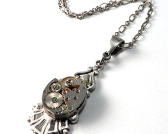 Steampunk Necklace Jewelry Petite Upcycled Antique 17 Jewel Orvin Watch Movement on Silver Victorian Revival Pendant